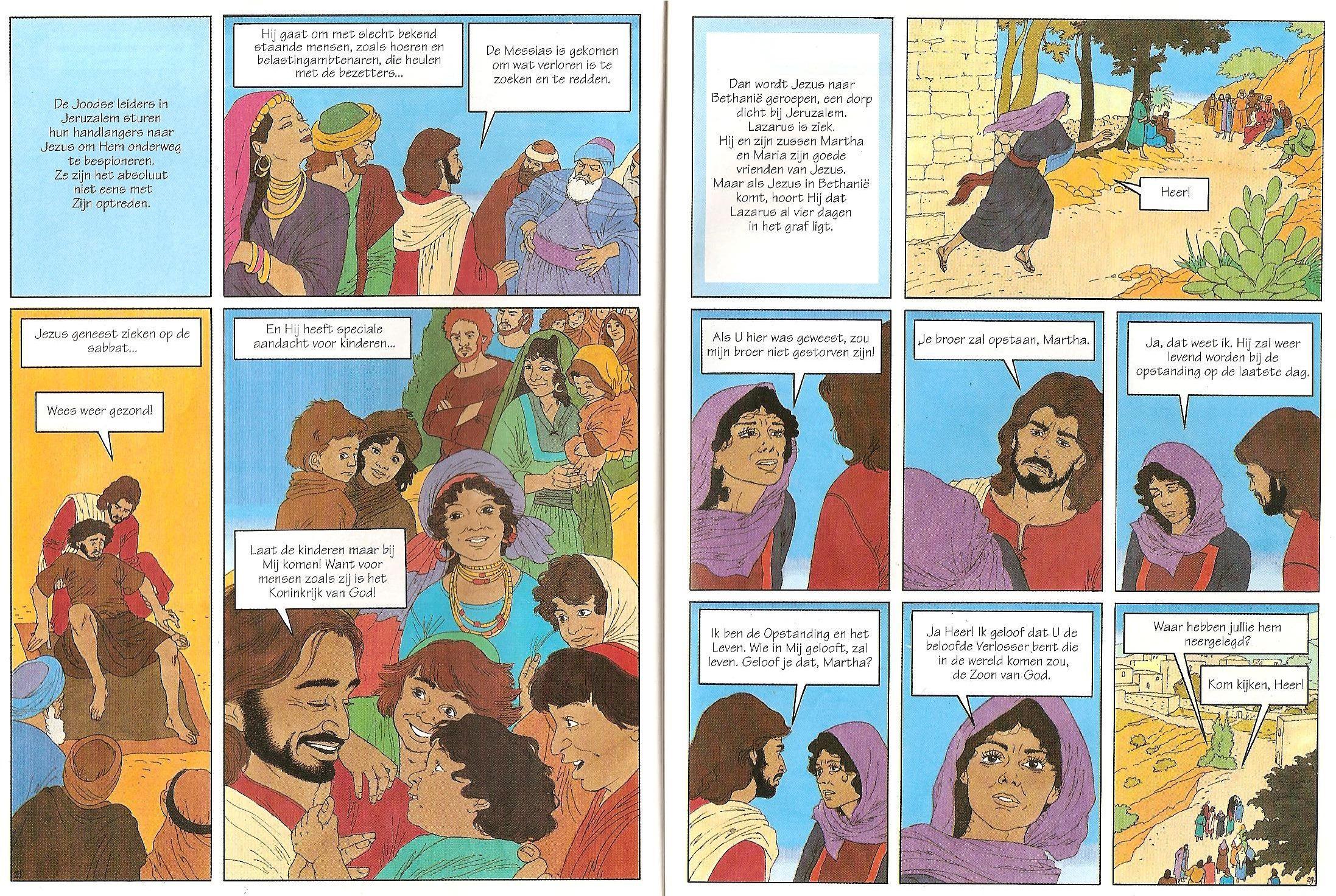 Blz28en29 Jezus Geneest Zieken Lazarus Opstanding Verhalen Heer Kleurplaten