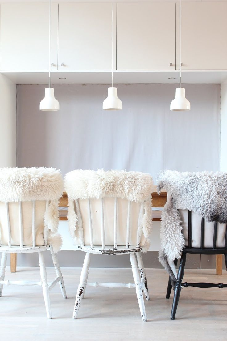 Furry Pillows For The Couch. Or Chair Covers? Sheepskin Chairs In Dining  Room