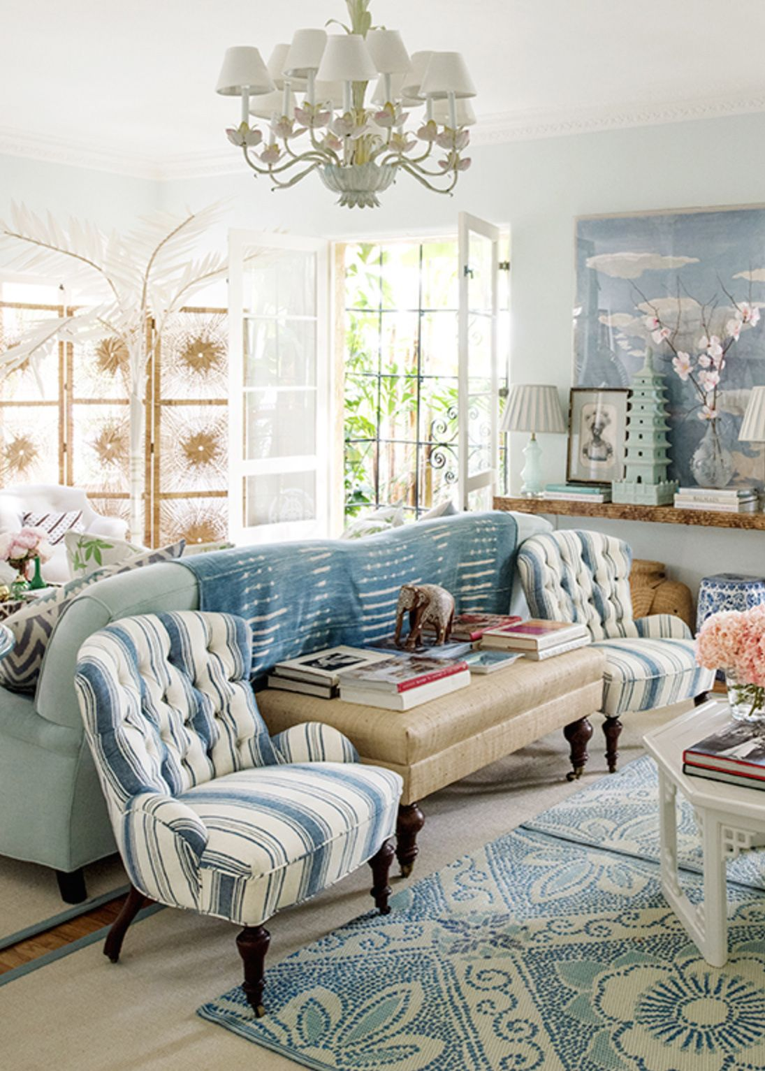House Tour :: Beach Bohemian In Classic Blues | House tours, Living ...