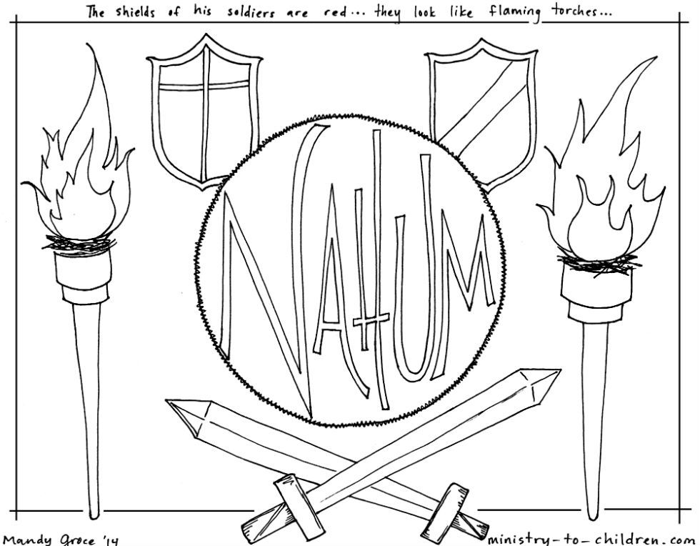 this free coloring page is based on the book of nahum  it