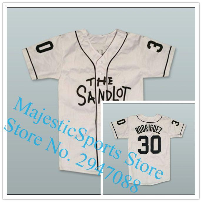 Benny  The Jet  Rodriguez 30 Baseball Jersey The Sandlot Gray White Jersey   Affiliate 228430a6f