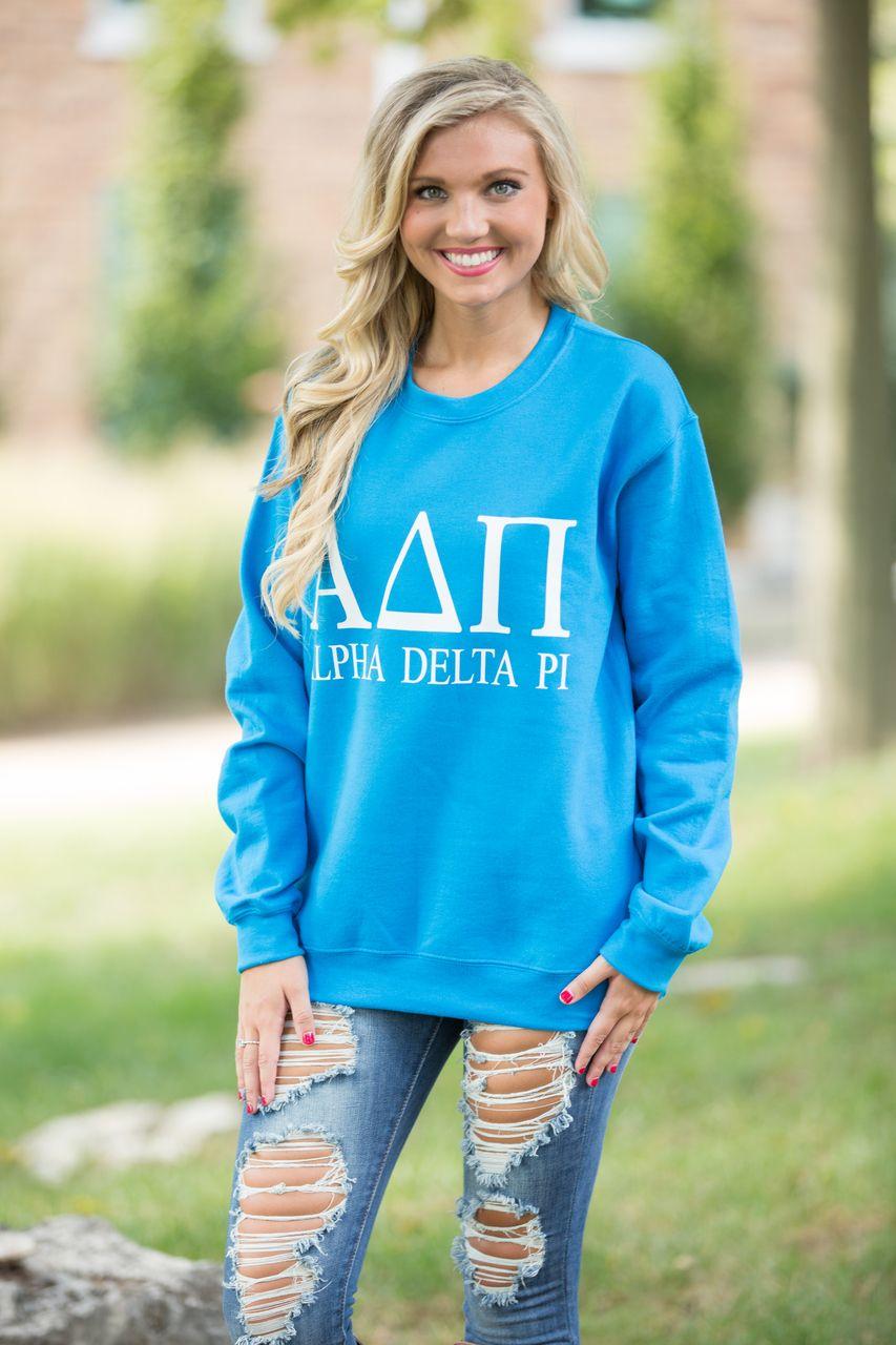 Alpha Delta Pi Vinyl Sweatshirt Pink Lily Boutique Sweatshirts Monogram Hoodie Blue Sweatshirt [ 1280 x 853 Pixel ]