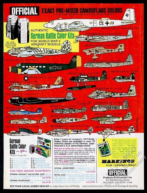 1968 Official Products 20 WWII German Plane Model Kit Paint Vintage Print Ad