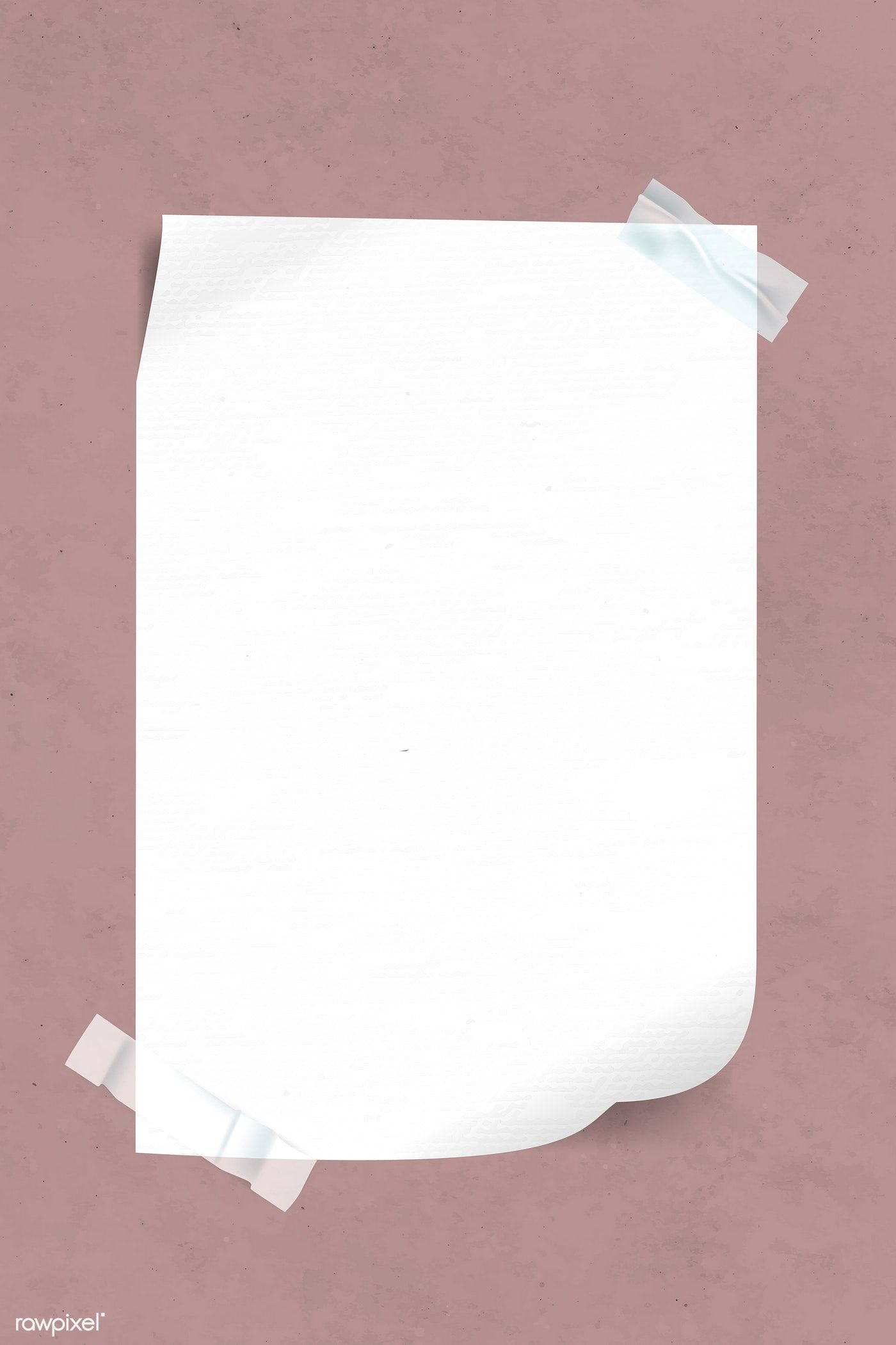 Download Premium Vector Of Blank White Paper Taped On Pink Background Pink Background Paper Tape Photo Collage Template