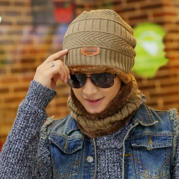 Lovful Unisex Fashion Winter Thick Warm Knitted Hat and Circle Scarf 2 Pieces