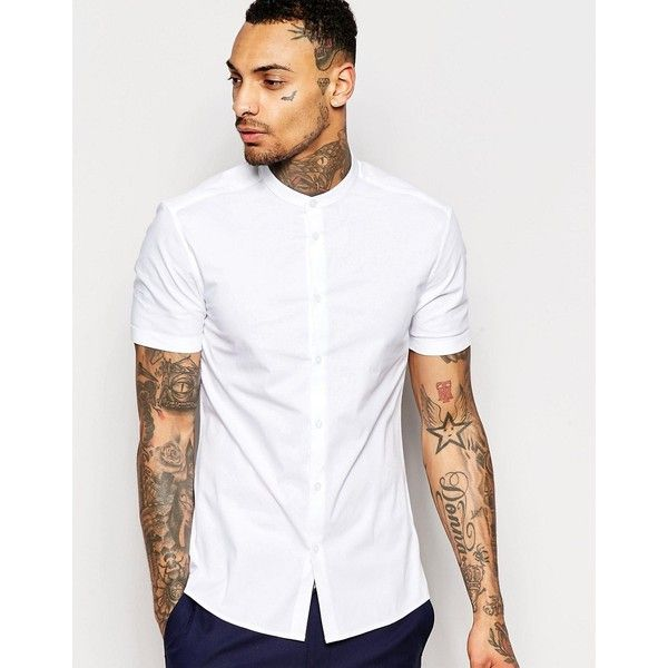ASOS Skinny Shirt In White With Grandad Collar And Short Sleeves ...