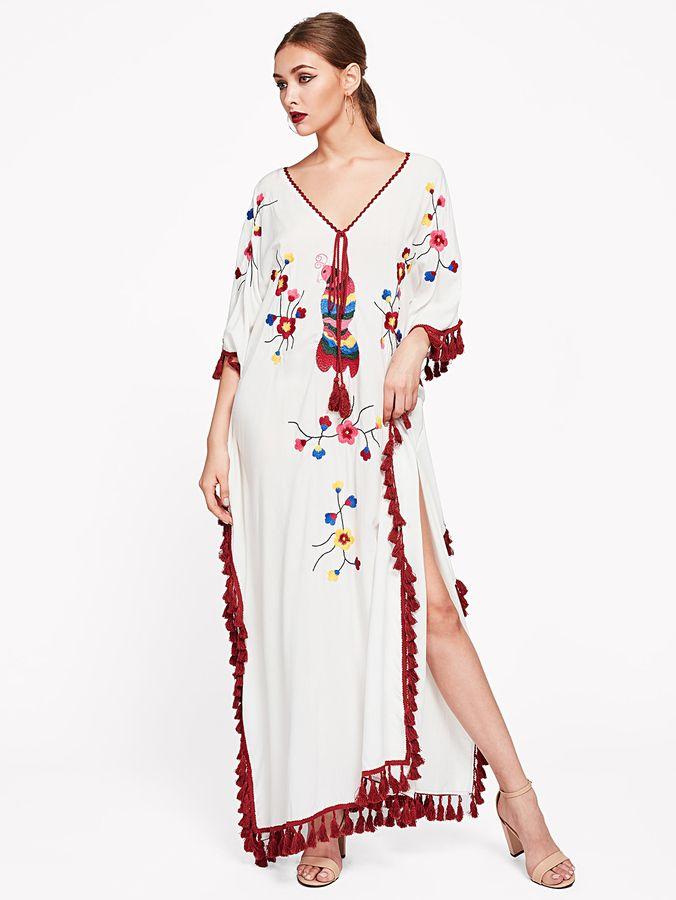 86238c6f52 Shein Tie Neck Tassel Trim Embroidered Poncho Dress
