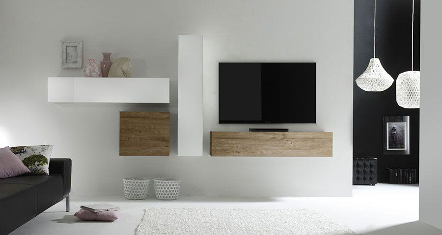 Ensemble Tv Mural Contemporain Michele 2 Laqué Blanc Brillant Et
