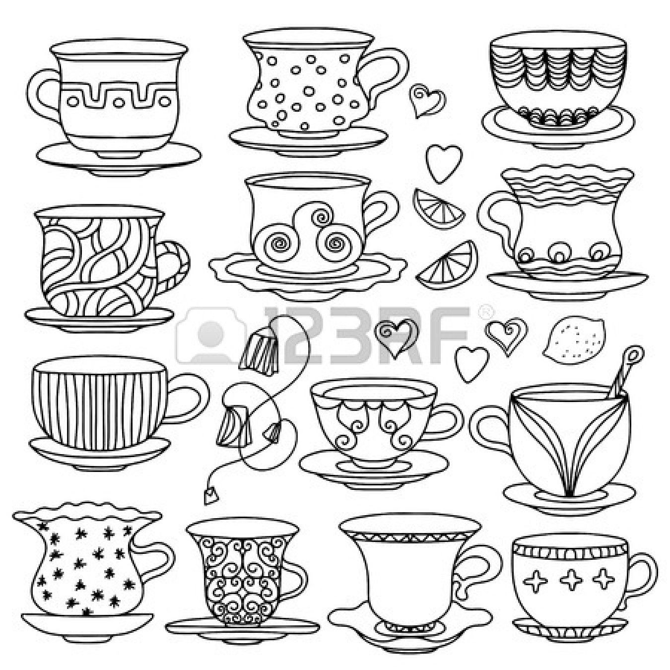 Cup of Coffee or Tea Zentangle Coloring Pages Shutterstock