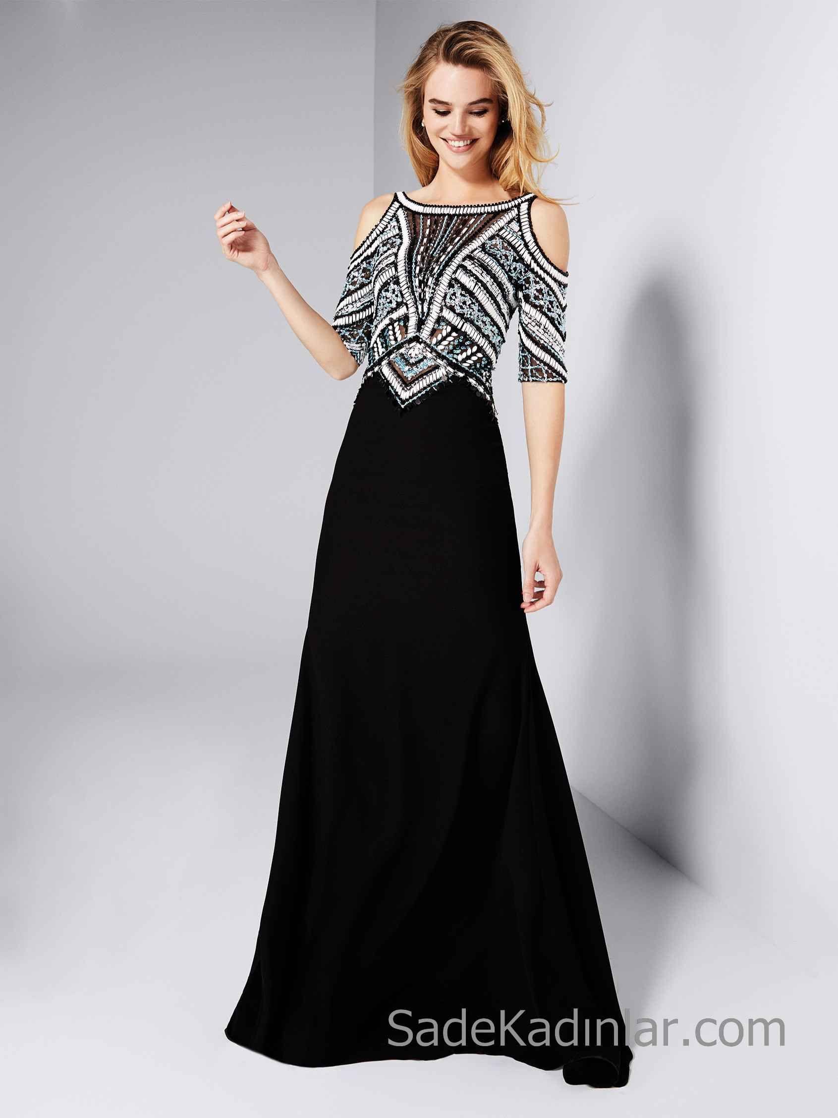 Pronovias 2019 Abiye Elbise Modelleri Siyah Uzun Askılı Omuzlar Açık  Geometrik Boncuk İşlemeli e96c02b50d36