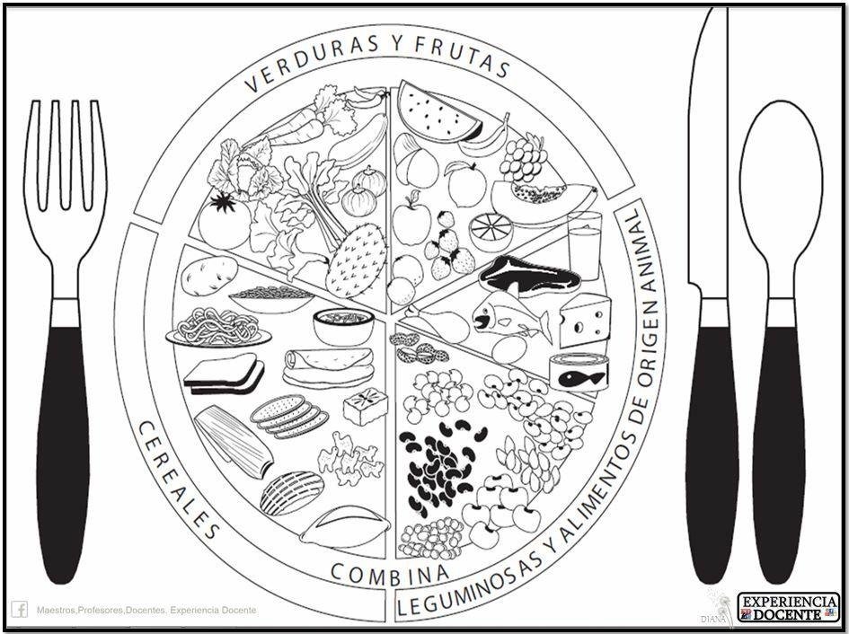 plato del buen comer para colorear sin nombres