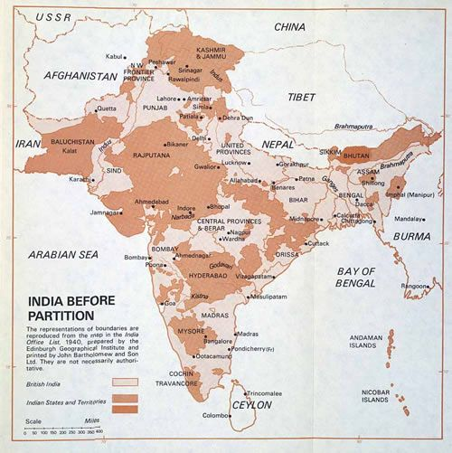 A Map Of India Before Partition In British Victorian - Population map of us in 1947