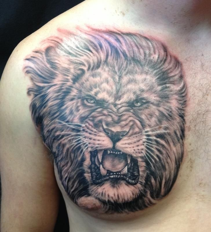 Polynesian And Lion Tattoos On Chest Photo 1 Tribal Lion Tattoo Lion Tattoo Tattoos For Guys
