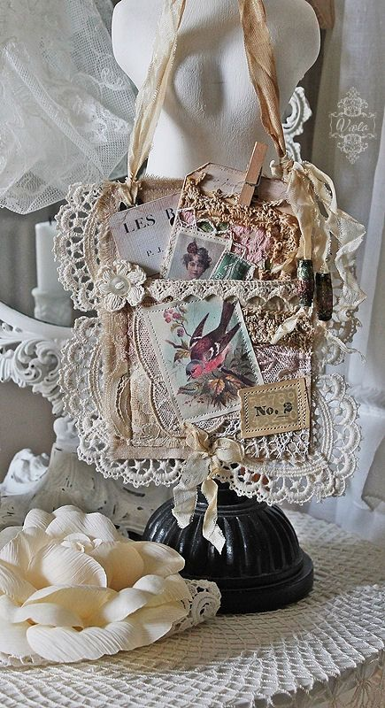 Shabby Chic Inspired- fabric collage - Lace, photos and more. Nicely done!......I want to make something like this for my daughters...using their grandmas hankerchiefs ......beautiful lace......