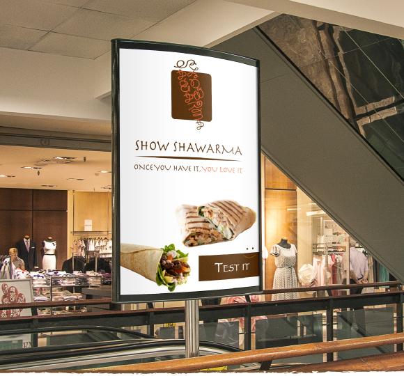 Shawarma restaurant logo design example arabic