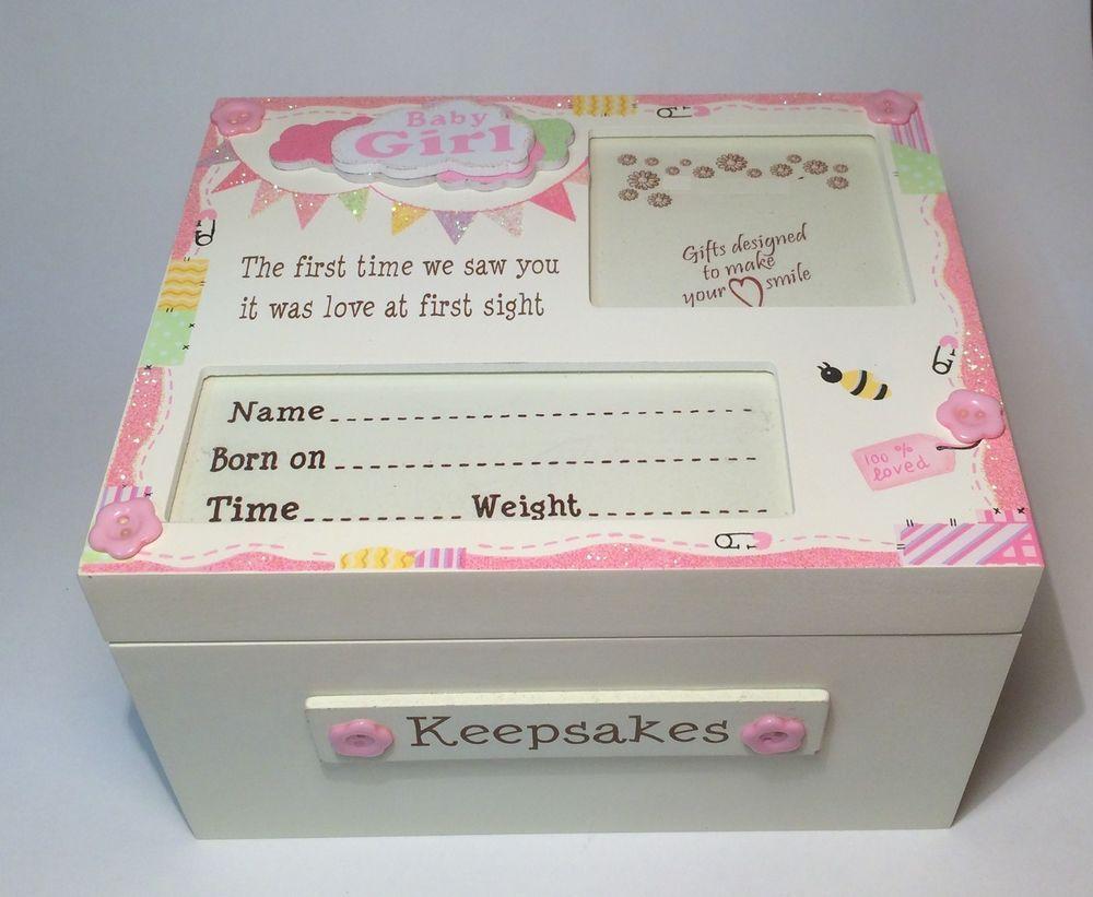 Baby Gift Ideas Keepsake : Baby boy girl keepsake memory box christening new