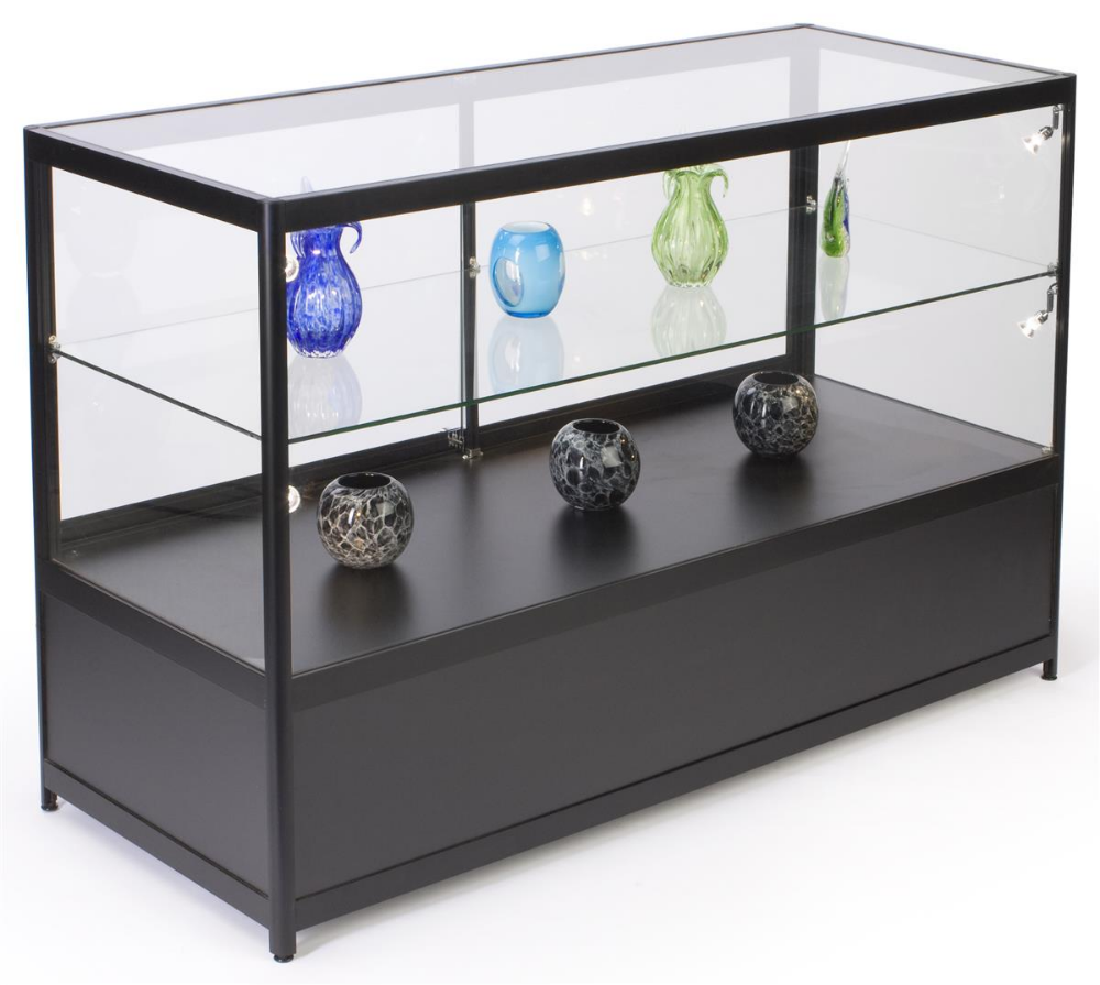 60 Retail Display Case W Storage Led Side Lights Sliding Door Black Retail Display Cases Retail Display Storage Spaces