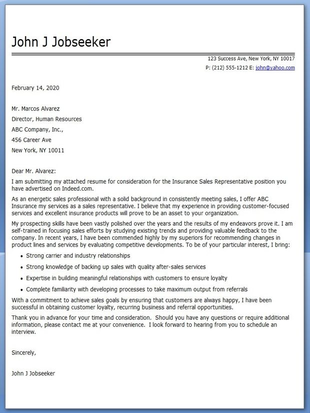 Amazing Insurance Sales Rep Cover Letter