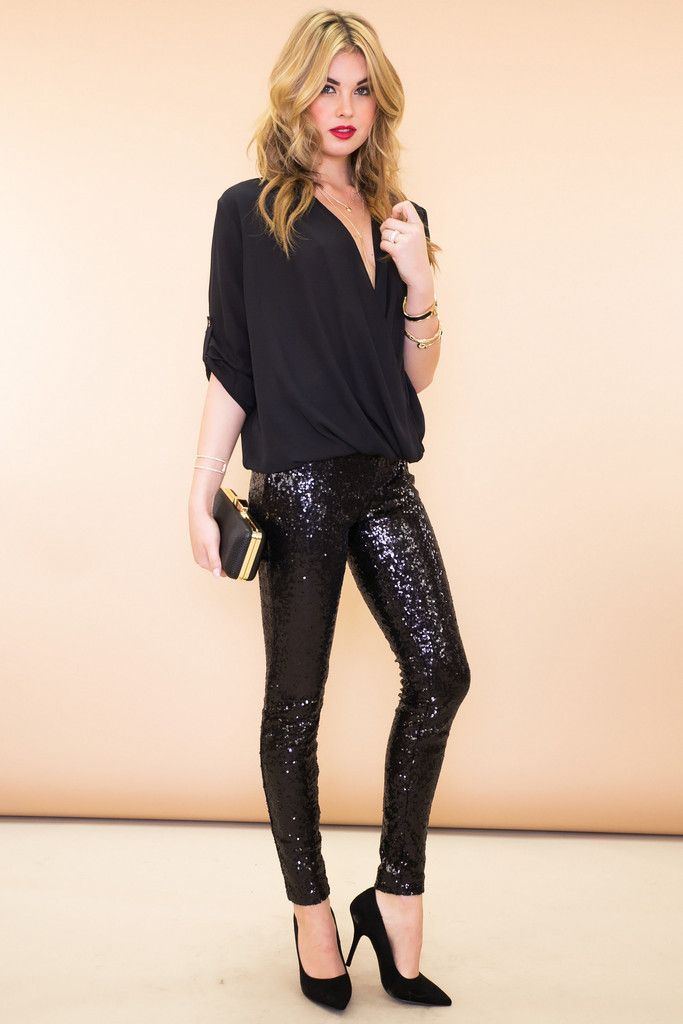 2d13f7fe333be Sequined Legging Pant - Black Leather Pants, Sequin Skirt, Sequins, Leggings,  Skirts