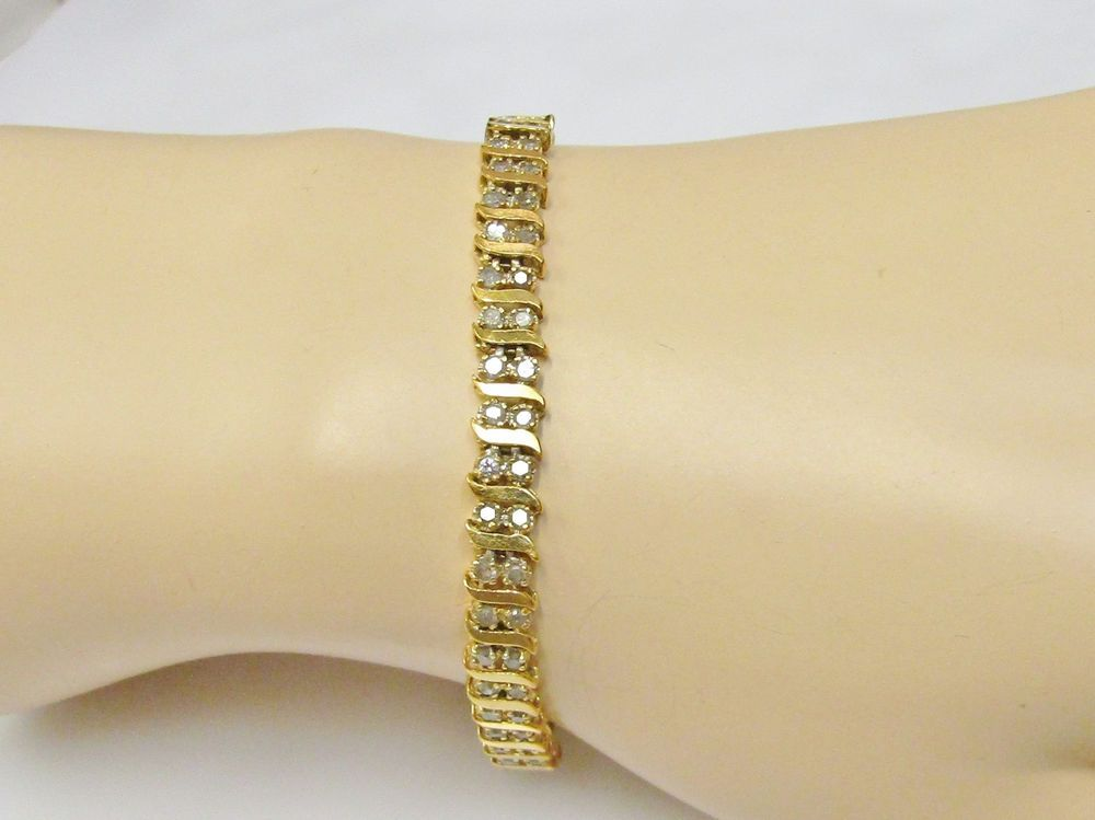Pre Owned Used Real Diamond S Link Tennis Bracelet Solid 10k Yellow Gold 7 Inch Tennis Bracelet Real Diamonds Bracelets