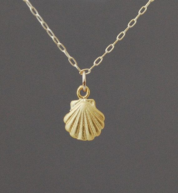 Small Gold Seashell Necklace also in Silver BlingBling