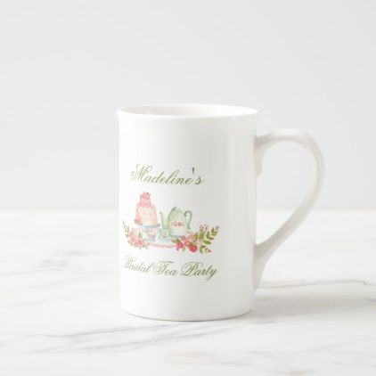 Tea Party Bridal Shower Green Script Bone China Mug