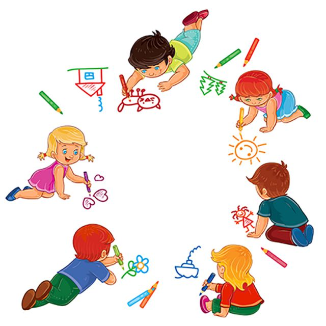 Vector Little Boys And Girls Draw With Colored Pencils Baby Little Kid Png And Vector With Transparent Background For Free Download Boy And Girl Drawing Girl Drawing Cartoon Drawings
