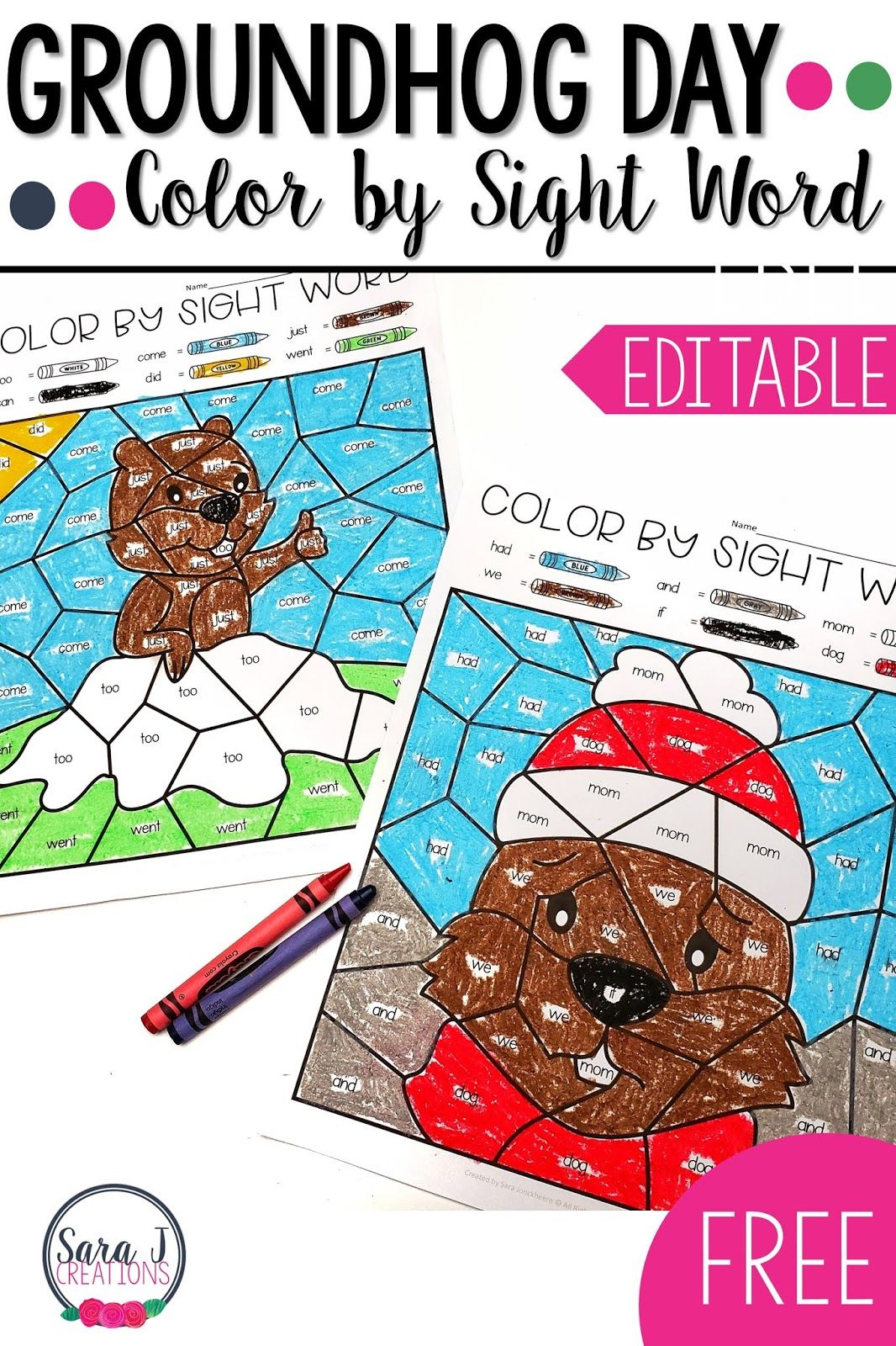 Free Groundhog Day Color By Sight Word Activities
