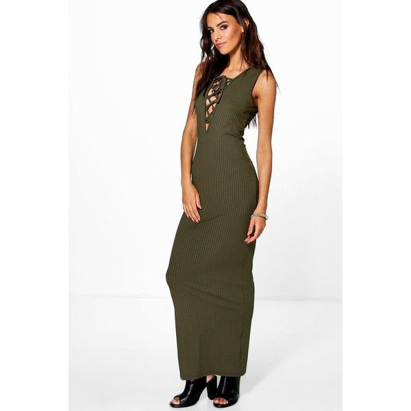 a4a23890772d Boohoo Pamela Lace Up Front Ribbed Maxi Dress ($30) ❤ liked on Polyvore  featuring dresses, khaki, mini party dresses, khaki dress, white mini dress,  ...