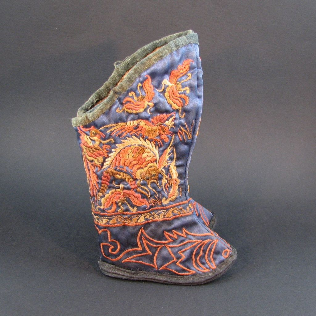 50% Off Tag Sale on Ruby Lane - Saturday, 01/12/2013, 24 Hour Sale - Antique Chinese Babies Silk Embroidered Boots 1900 Era
