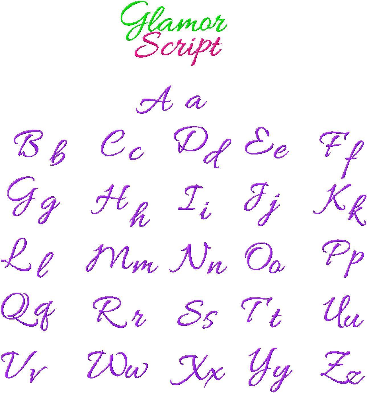 Cursive Embroidery Alphabet