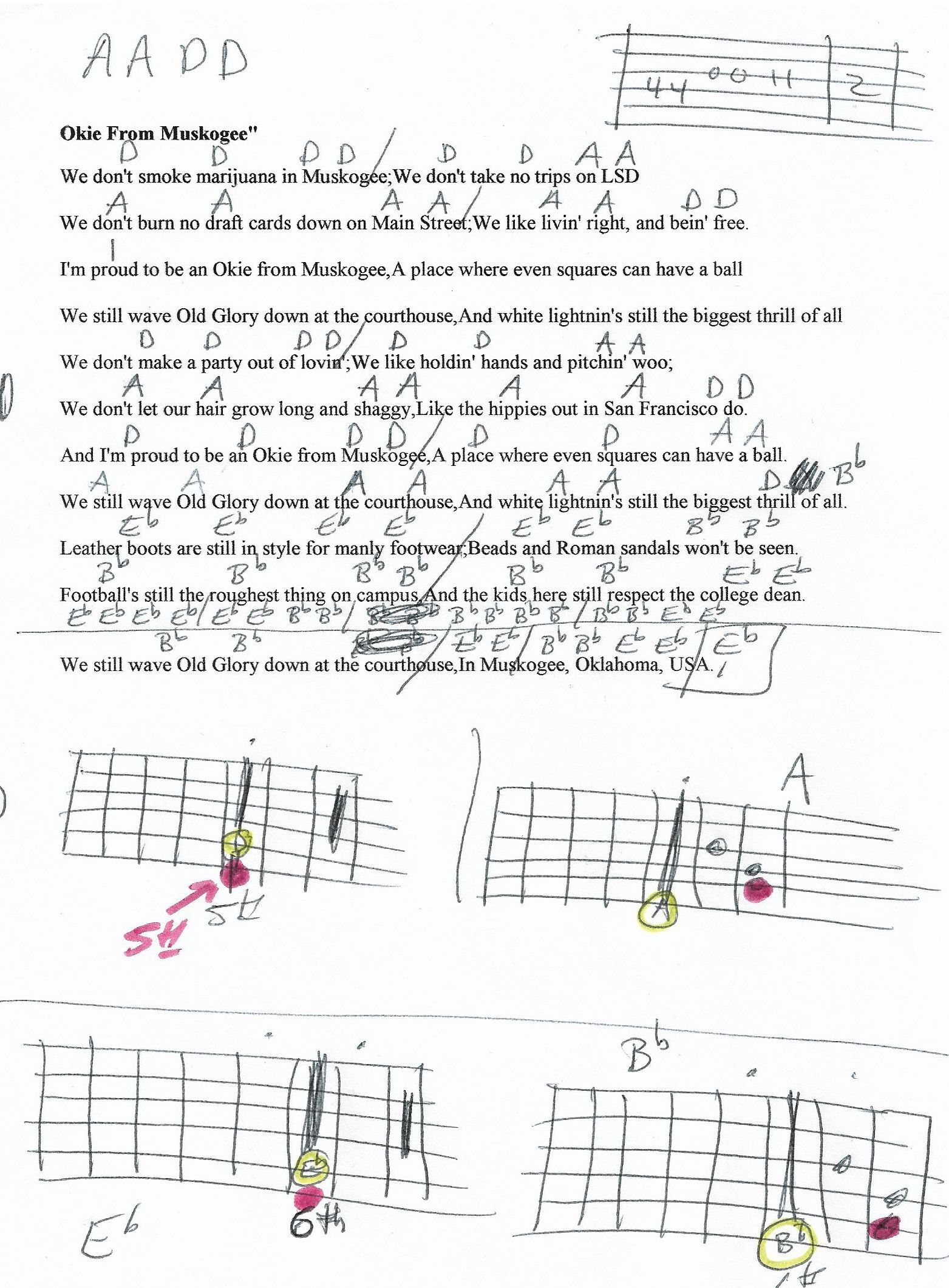 Okie From Muskogee Merle Haggard Guitar Chord Chart In D And Later