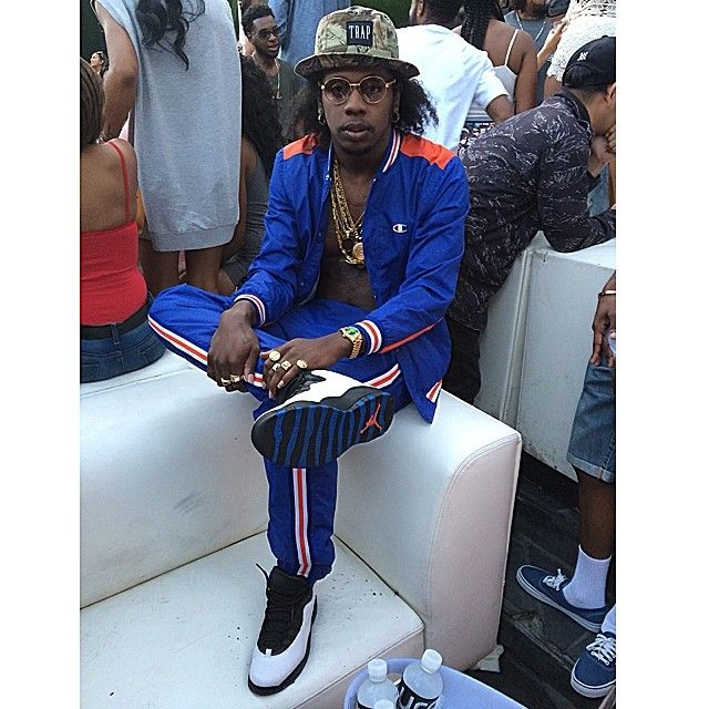 f8424f9958535 Trinidad James wearing Air Jordan X 10 Knicks