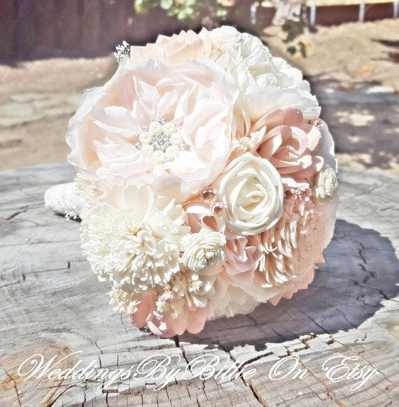 Blush Pink Ivory Sola Bouquet Blush Wedding Rustic Shabby Chic Bridal Accessories Alternative Bouquet Pale Pink Wedding Sola Flowers
