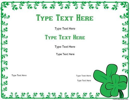 Blank Certificates  St PatrickS Day Certificate