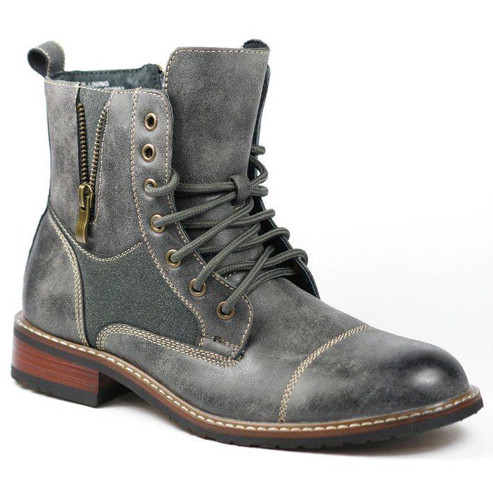 99e143ff5da1d Ferro Aldo MFA-808561 Gray Mens Lace up Military Combat Work Desert Ankle  Boot (5.5)