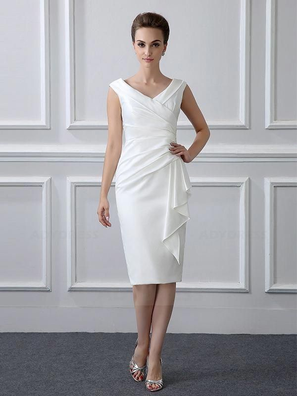 Photo of Sheath/Column Tea-length Satin V-neck Mother of the Bride Dr…