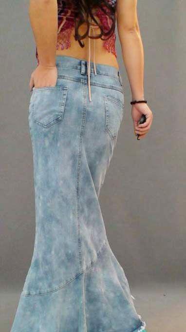 Caliente de europa Jeans moda mujeres largo Denim falda del vestido de bola  para mujeres Patchwork Tassel Mermaid falda de …  3eae323235ed