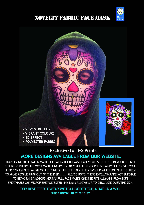 Candy Skull Pink Face Halloween Novelty Lycra Fabric Mask