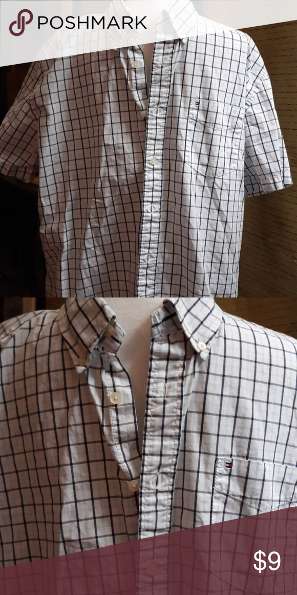 9f5658b7 Tommy Hilfiger Mens Shirt White, navy blue and light blue checked shirt. Short  sleeves and 1 pocket on the front. Tommy Hilfiger Shirts Casual Button Down  ...