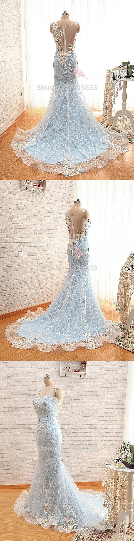 Women bride dress full length appliques seethrough back mermaid