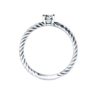 Anel Solitario Com Diamante Em Ouro Branco Solitario Entrelacado