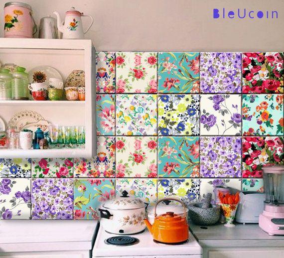 Flower Tile Decal The Design Contains Total 44 Pieces Of Tile Decal 4 Sets Of 11 Designs Our T Azulejo De Pared Disenos De Cocinas Pequenas Cocinas Coloridas