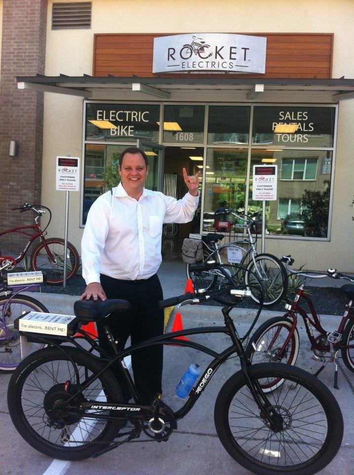 Jim Picking Up His New Interceptor From Rocket Electrics Electric Bike Bike Bike Store