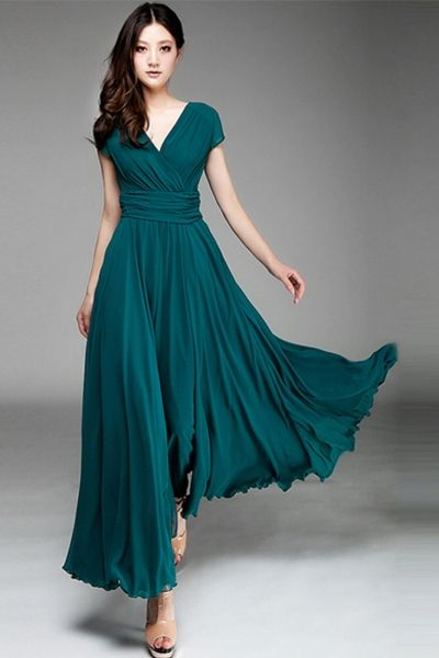cb6716e2980 Women s Elegant Fashion Maxi Surplice Chiffon Dress