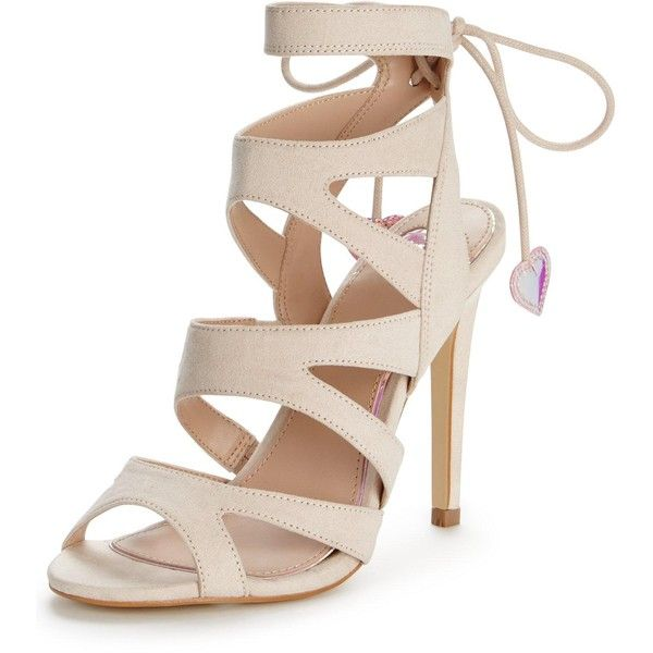 Miss KG Frenchy Cut Out Suede High Heel Sandals, Nude at