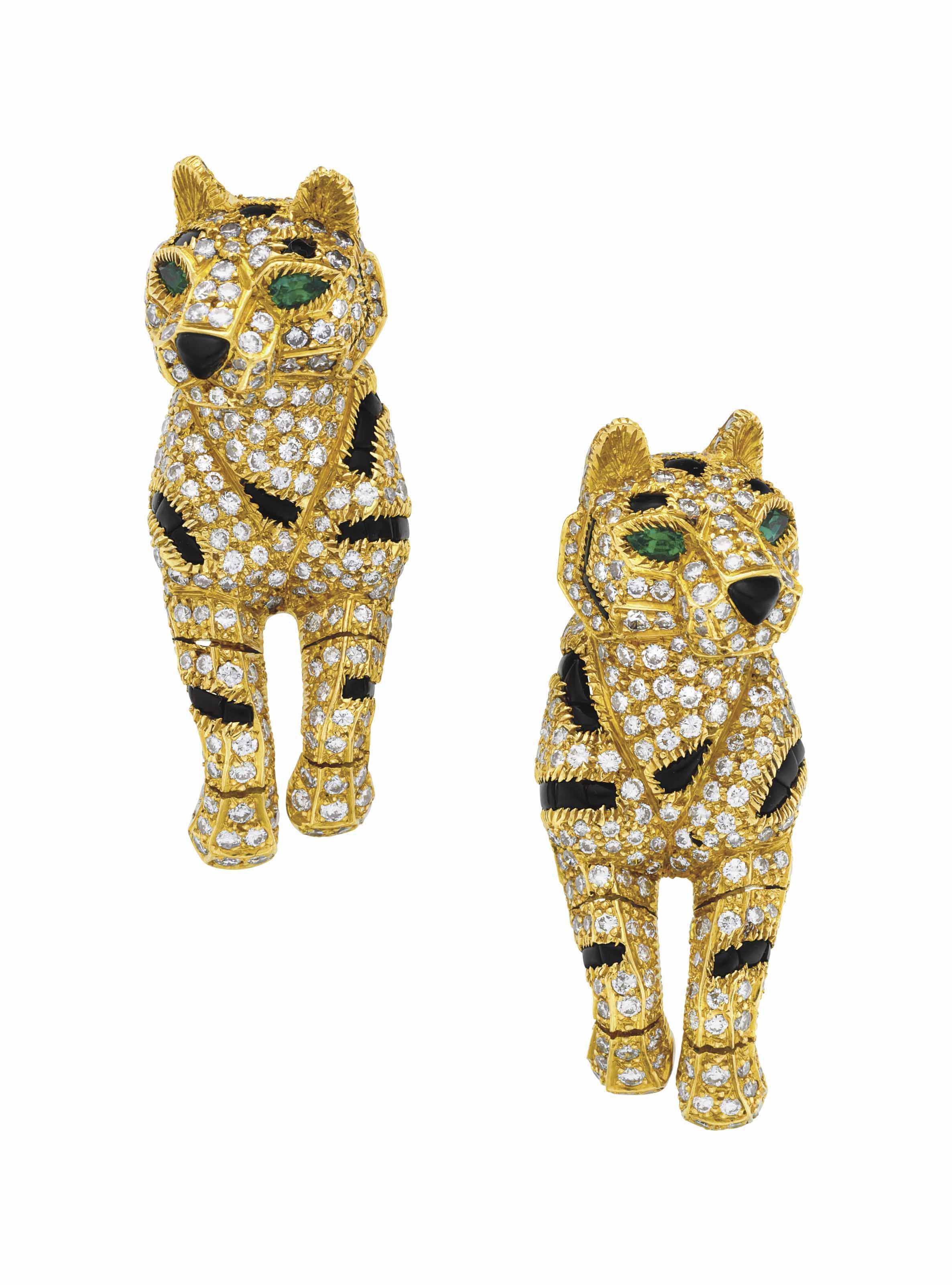 A Pair Of Diamond Onyx And Emerald PanthÈre Earrings By Cartier Christie S