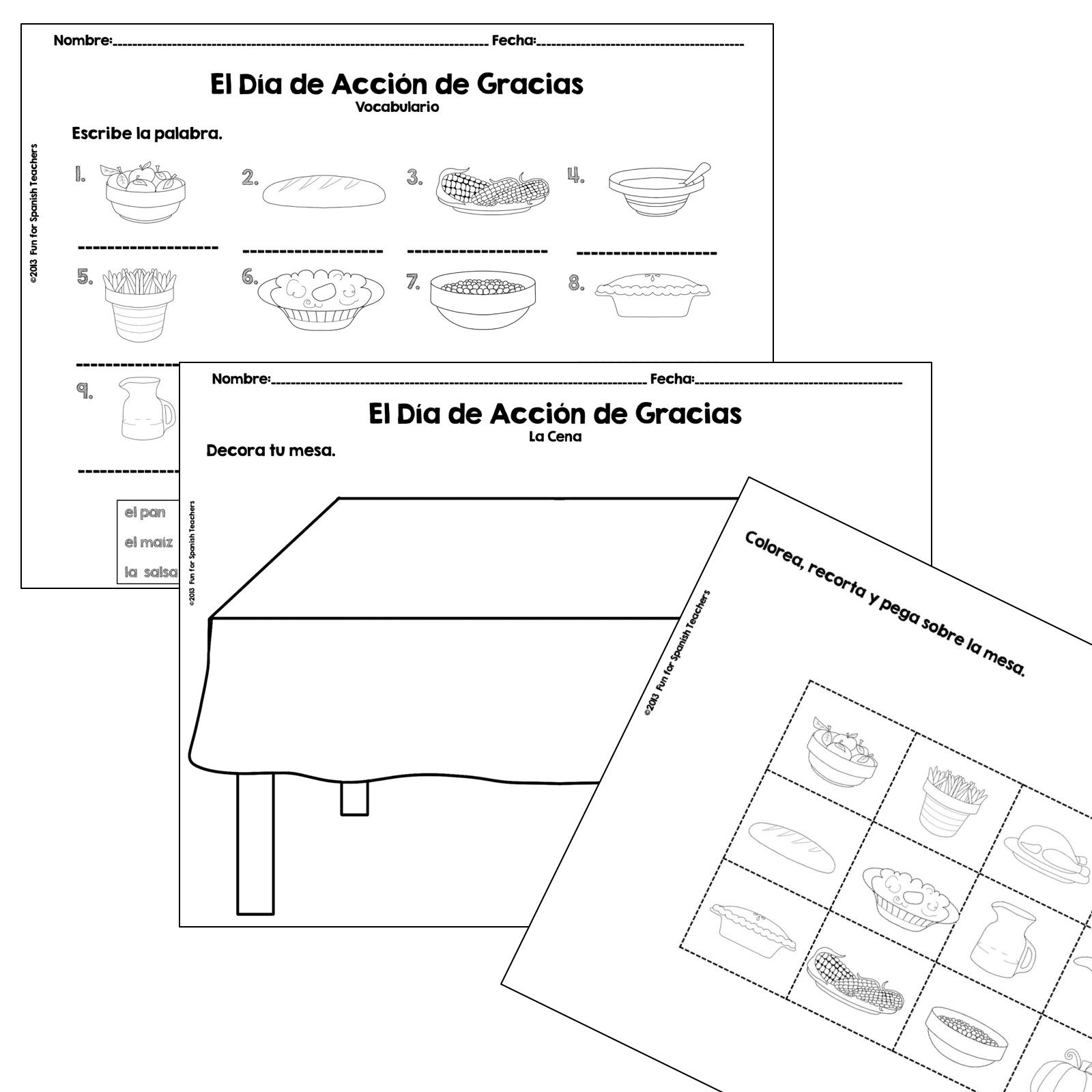 Roll A Thanksgiving Dinner in Spanish {Product Spanish