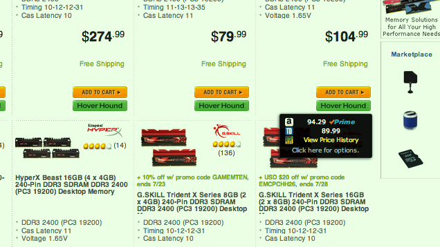 Hover Hound Compares Newegg Prices with Tiger Direct and