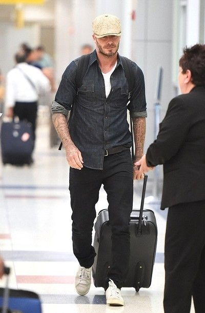 David Beckham Arriving in New York for work #denim #fashion #celebrities
